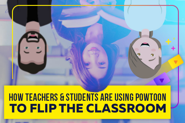 Upside down animated characters and girl in classroom