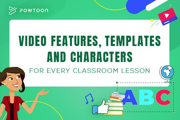 Un maestro de pie junto a una pizarra blanca en un aula que dice características de video, plantillas y personajes para cada clase.